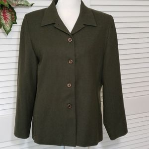 Vtg Pendleton Wool Car Coat Blazer Army Green 14